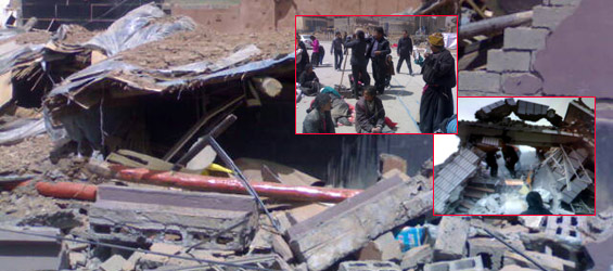 Scenes at the epicentre of the earthquake as buildings collapse and people rush to the streets