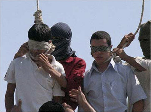Two Iranian teenagers who were executed for being homosexual. At the time of arrest, one of the boys were 14 the other was 16-years-old.