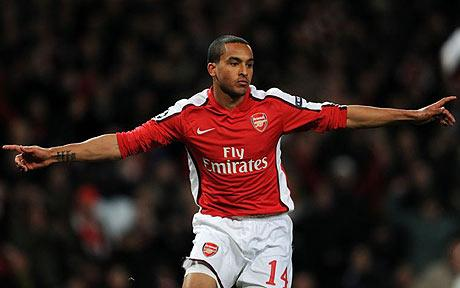 Theo Walcott celebrating his goal just two minutes after being substituted on: Photo by: GETTY IMAGES