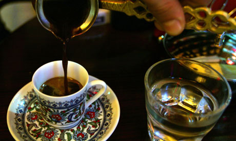 A traditional Turkish coffee is served at a coffee house in Istanbul