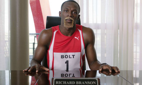 Usain Bolt in his fake beard impersonating Sir Richard Branson