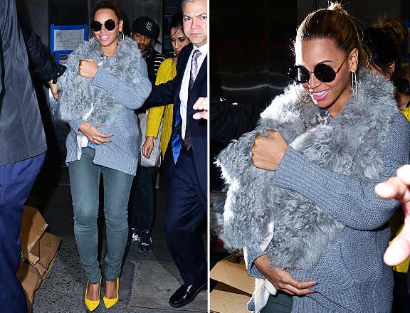 Beyonce kept her baby Blue Ivy Carter covered up against NYC cold