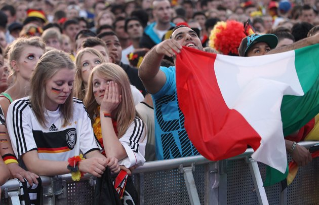 Tears and joy in one picture, taken in Germany during public viewing of Germany vs Italy Euro 2012 game