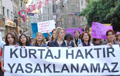Abortion in Turkey : Punishable crime from now on..women holding a banner reads Abortion is a right cannot be banned.