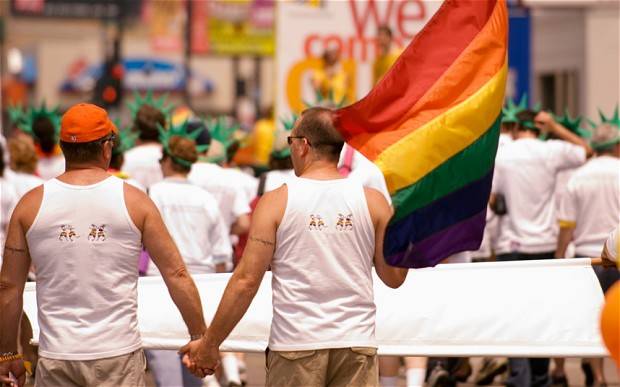 US homosexual soldiers procession in gay pride parade