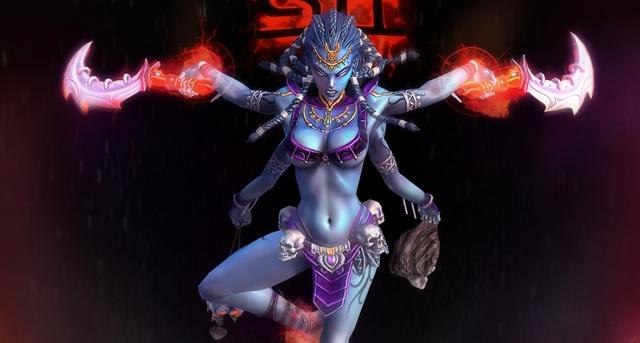 Image of Hindu Goddess Kali as porn-star in video game SMITE