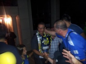 Alex with Fenerbahce fans in front of his house