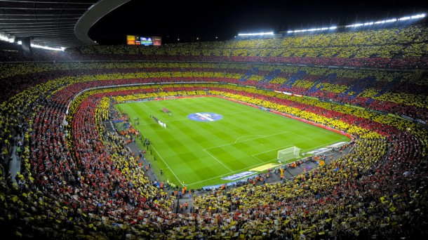 Camp Nou at the start of Barcelona v Real Madrid Clasico was a sight to see, with Catalans showing off !