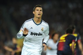 Barcelona vs Real Madrid - Ronaldo with his now trademark after goal-coolness, gesture to barcelona fans at Capm Nou : Chill ese !