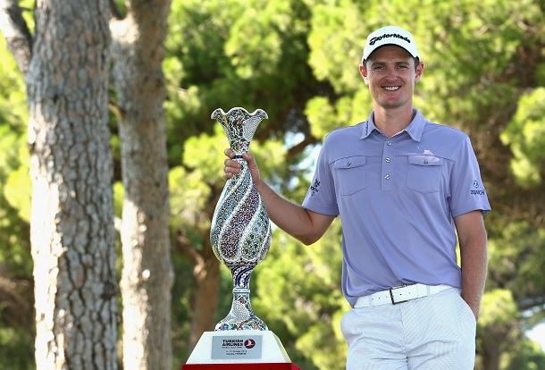 Justin Rose of England poses with the trophy after beating fellow countryman Lee Westwood to win the Turkish Airlines World Golf Final final Day at Antalya GC on October 12, 2012 in Antalya, Turkey.