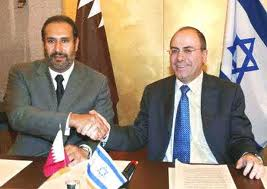 Sheikh Hamad bin Khalifa Al Thani, Qatar's Emir meeting  Israel's PM Ehud Olmert in Paris, Jul 2008