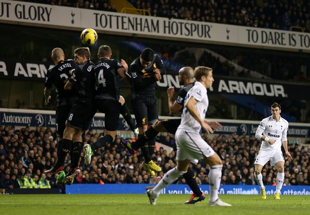 Gareth Bale of Tottenham Hotspur scores their second goal from a free kick during the Barclays Premier League match between Tottenham Hotspur and Liverpool at White Hart Lane on November 28, 2012 in London, England.  
