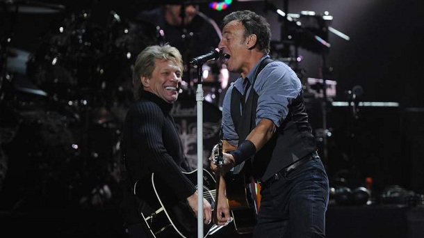 NEW YORK, NY - DECEMBER 12:  Musicians Jon Bon Jovi (L) and Bruce Springsteen perform at &quot;12-12-12&quot; a concert benefiting The Robin Hood Relief Fund to aid the victims of Hurricane Sandy presented by Clear Channel Media &amp; Entertainment, The Madison Square Garden Company and The Weinstein Company at Madison Square Garden on December 12, 2012 in New York City.  