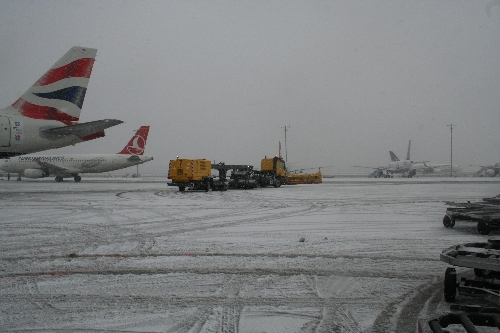Snow Disrupted Air Travel In Istanbul