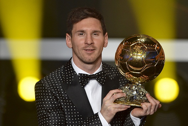 deb0b1533f1 FIFA Ballon d Or award winner Barcelona s Argentinian forward Lionel Messi  poses with his trophy