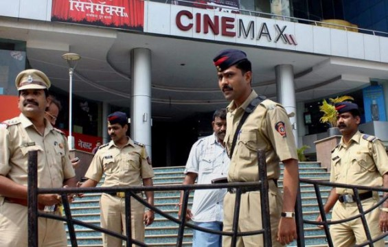 Policemen keeping watch outside multiplex in Mumbai. File Pic
