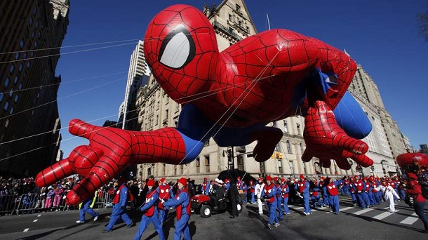 The Spiderman balloon floats down Central Park West during the 87th Macy's Thanksgiving Day Parade in New York