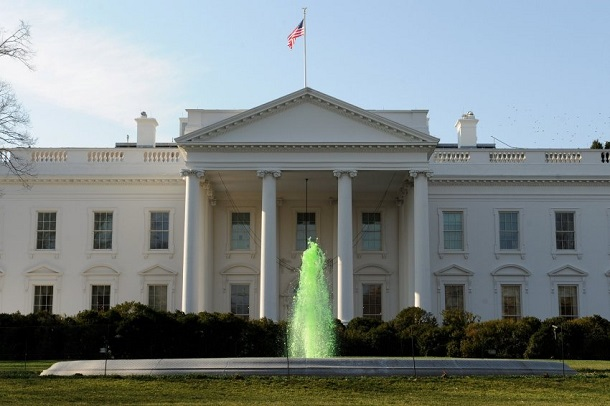 The White House North Lawn Fountain is dyed green on St. Patrick'