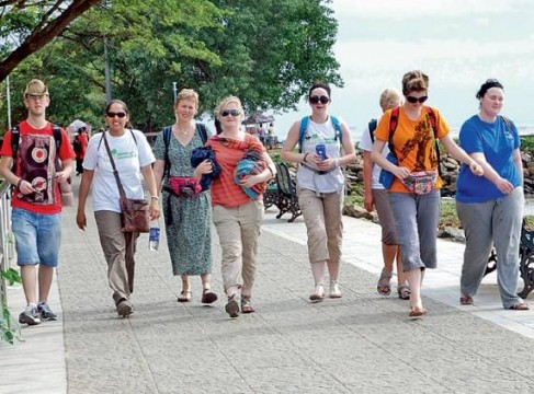Foreign tourists in India. File Pic